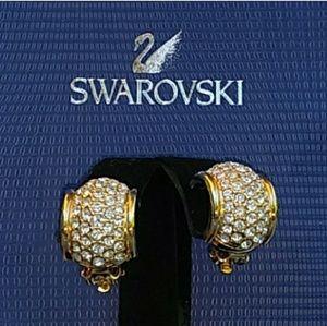 NOS NWOT VTG Swarovski Pave Crystal Huggie Hoops